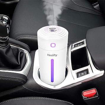 Opinión sobre Healifty Mini humidificador USB 280 ml LED 7 colores luz para coche y oficina Difusor de aceites esenciales portátil ultrasónico humidificador humidificador humidificador purificador de aire