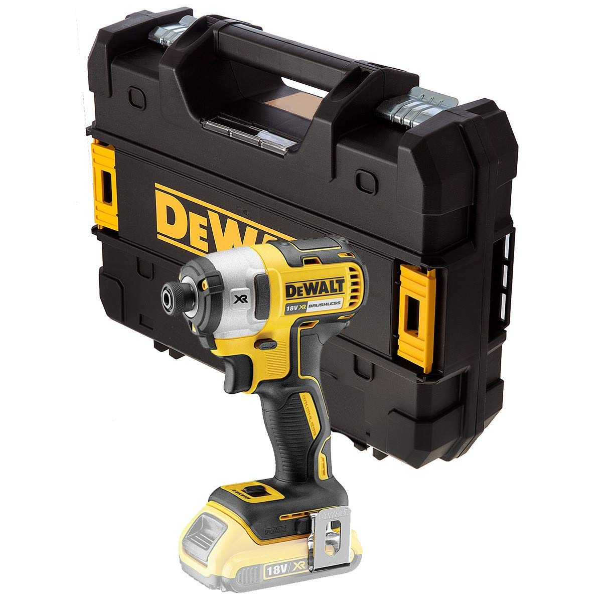 DEWALT DCF887N 18V XR G2 Brushless 3 Speed Impact Driver Bare Unit + Tstak Case, 280 W, Yellow