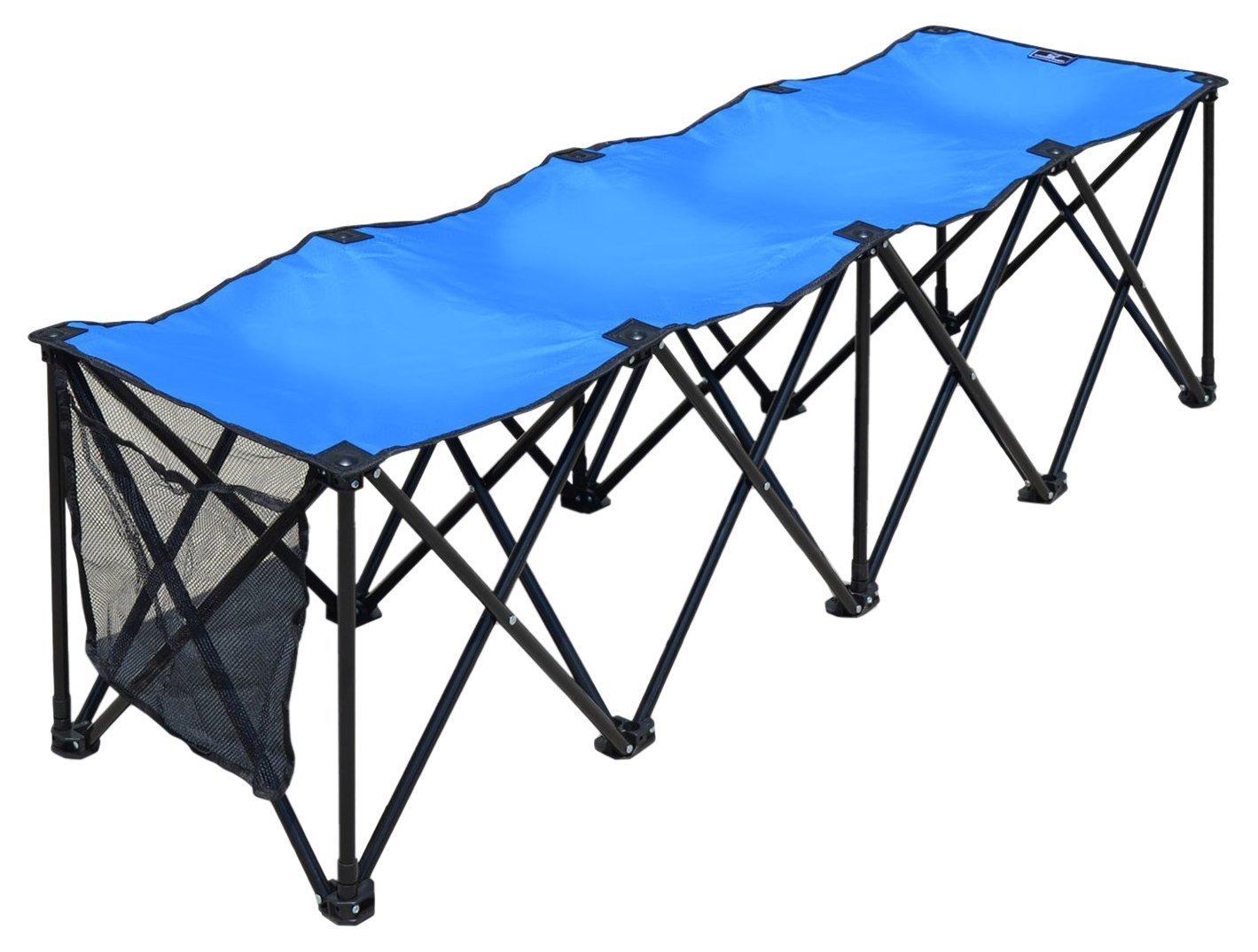BenefitUSAスポーツサイドラインベンチ3 / 4 / 8 Seater Portable Foldingチームスポーツベンチsitsアウトドア防水 3 Seater ブルー B0728BJ763