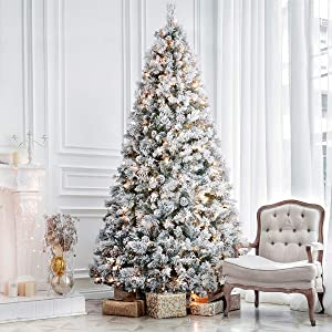ANOTHERME 7.5ft Pre-lit Christmas Tree Snow Flocked, Feel Real, 500 Warm Lights, Pinecones Hinged Artificial Trees