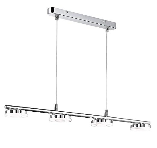 Reality Rennes - Lámpara colgante. 4 luces SMD-LED de 4W cada una. Cuerpo de metal cromo y luces de acrílico blanco