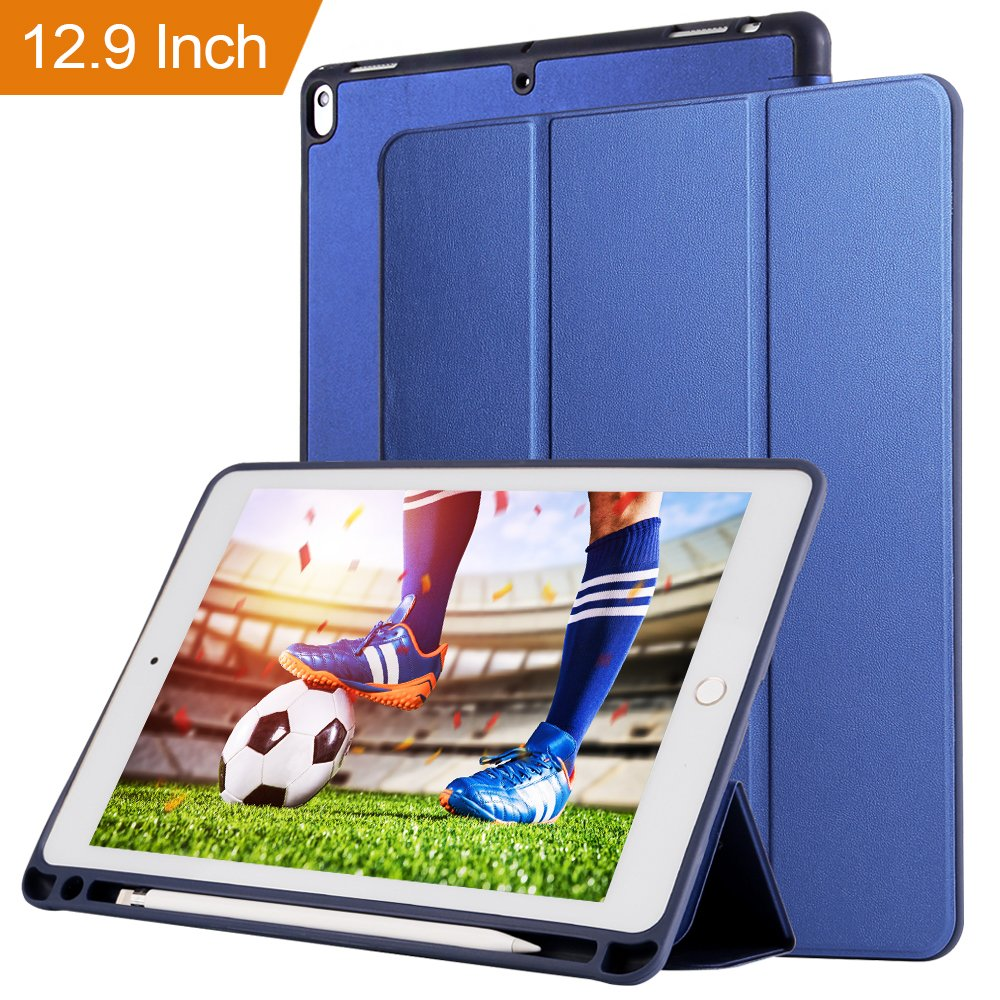 Case for ipad Pro 12.9 with Stand and Pencil Holder, PU Leather Smart Cover Magnetic Trifold Stand Auto Wake up/Sleep for ipad Pro 12.9 2017 2018(Blue) by Coralov (Image #1)