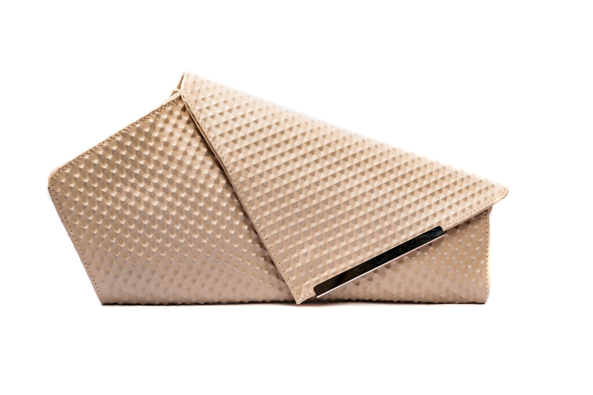 Asymmetrical Women Clutch in Dirty White Premium Embossed Leather YVES