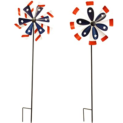 """Gift Boutique Garden Stakes Set of 2-38"""" Metal Windmill Spinner Wind Stake for Yard Outdoor Lawn Decor Pinwheel Sculpture Decorations Spiral Windspinner Ornament Patriotic Red White Blueby : Garden & Outdoor"""