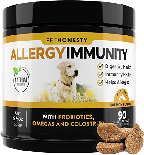 PetHonesty Allergy Relief Immunity Supplement for Dogs - Omega 3...