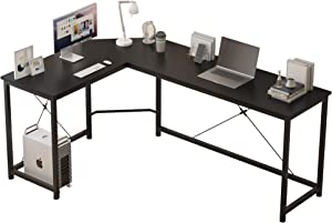 L Shaped Computer Desk Home Office Corner Desk of Spacious Desktop for Small Space Study Desk Gaming Desk Side Table with X Rods Sturdy Enhancement (Black)