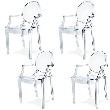 Damiware Spirit 4er Set Design Stuhl Mit Armlehnen Transparent    Wohnzimmerstuhl Esszimmerstuhl Hochwertige Verarbeitung, Komfortables