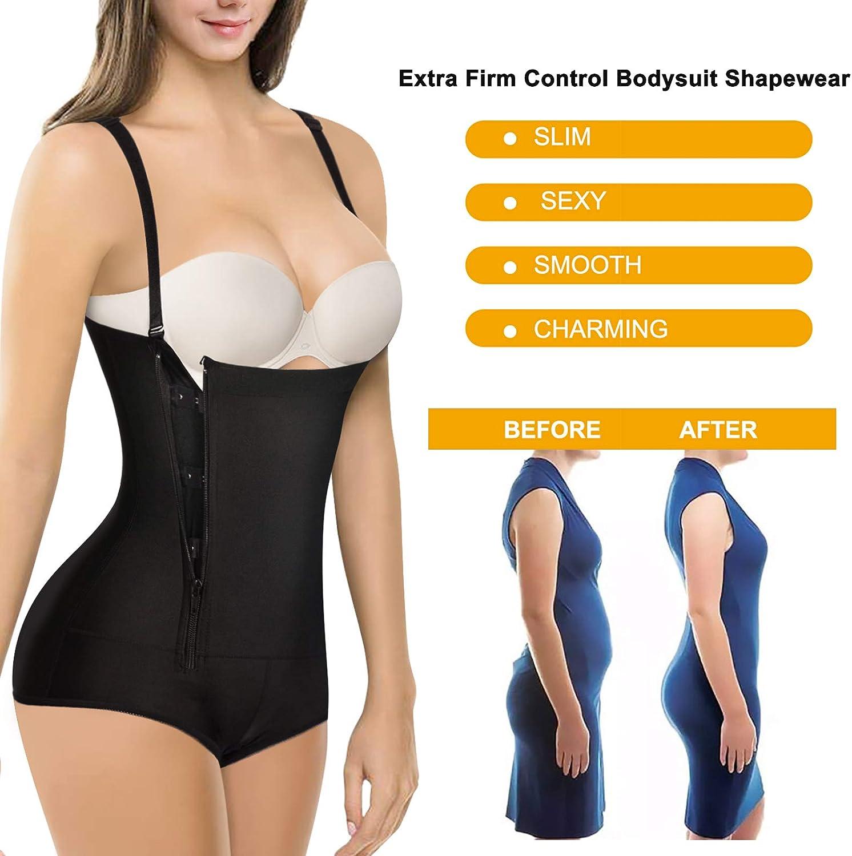 LODAY Women Latex Bodysuit Shapewear Tummy Control Side Zipper Open Bust Corset Seamless Girdle Butt Shaper