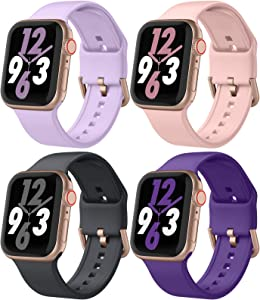 Adepoy 4 Pack Sport Band Compatible with Apple Watch Band 38mm 40mm, Soft Silicone Apple Watch Replacement Strap with Classic Clasp for Apple iWatch Series 6 5 4 3 2 1 SE Women Men, 38/40mm