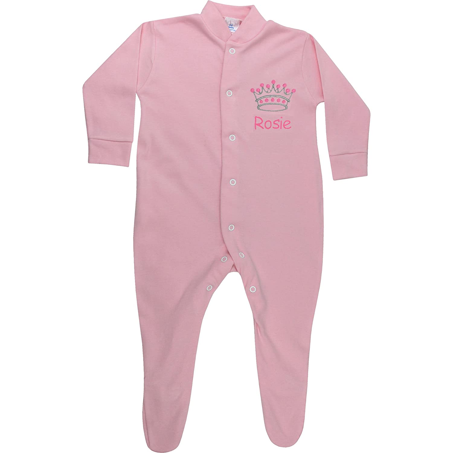 Personalised Baby Girl's Pink Princess Crown All in One Sleepsuit (0-3 Months) TeddyT' s