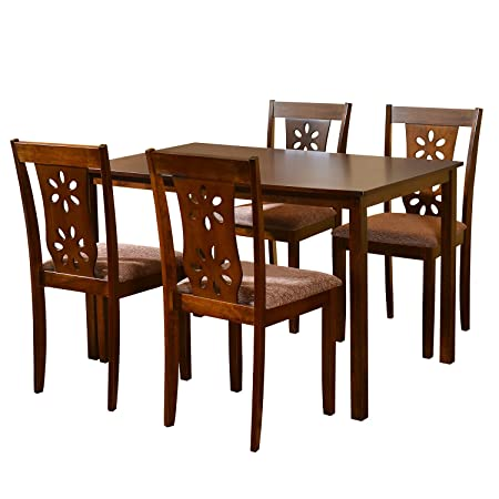 @home by Nilkamal Four Seater Dining Table Set (Beige)