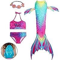 GRE1BEE Girls 3 Pcs Mermaid Swimsuit Swimwear Princess Sea-Maid Bikini Set