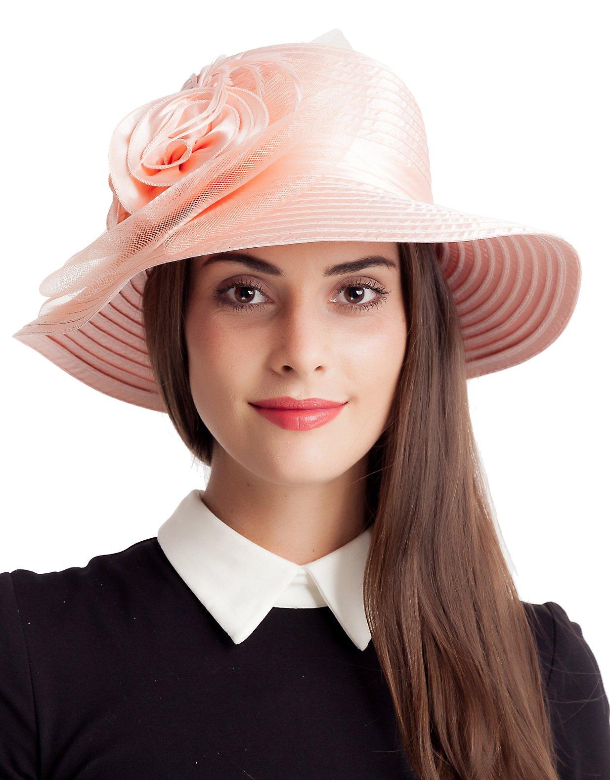 Seven Flowers Kentucky Derby Hat Women Summer Sun Hats Easter British Cloche Tea Party Church Wedding Hats (8-Pink)