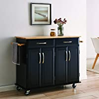 BELLEZE Modern Rolling Kitchen Island Utility Cart with Two Drawers, Storage Cabinets, Handle Towel Racks, Rubber Wood…