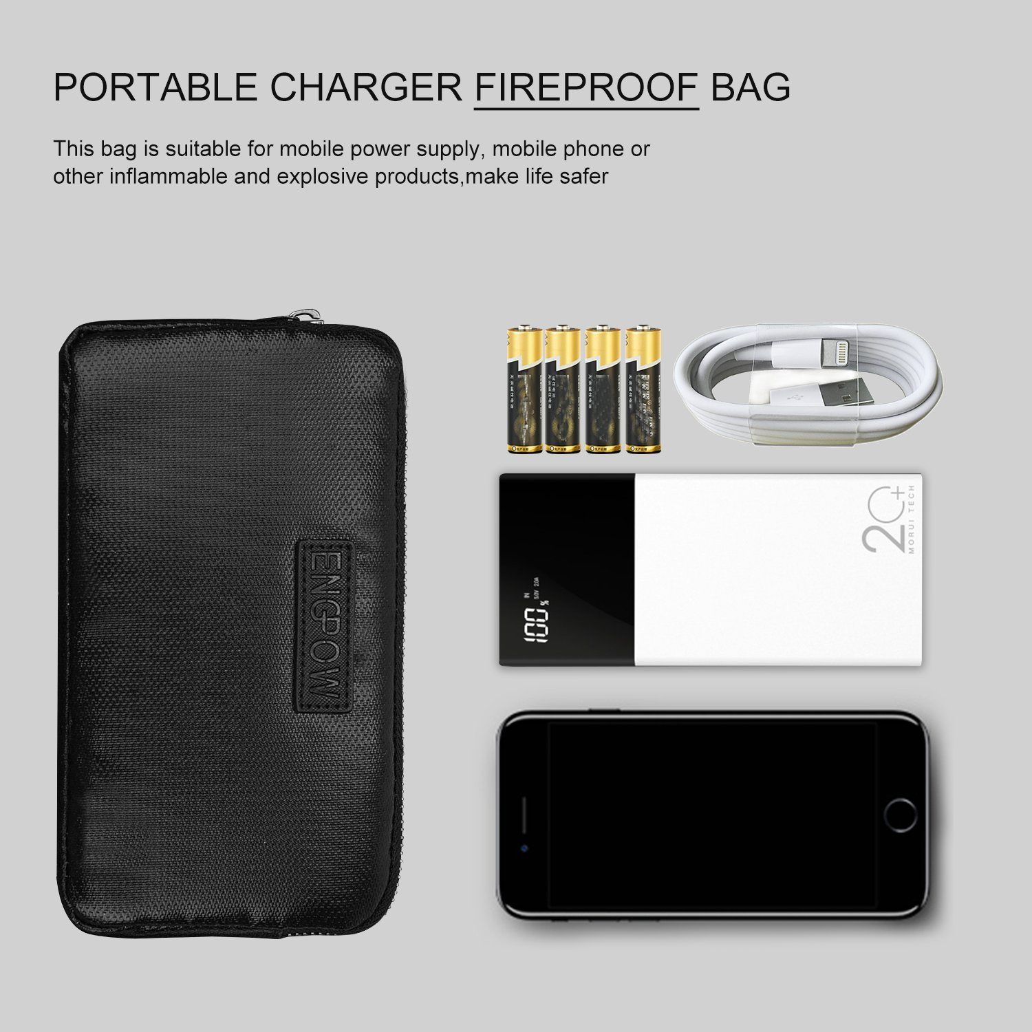 Fireproof Power Bank Carrying Case ENGPOW Portable Charger Carrying Travel Case Money Bag for Anker 20000mAh 20100mAh 22000mAh 26000mAh Ultra High Capacity Power Bank External Battery Pack Case