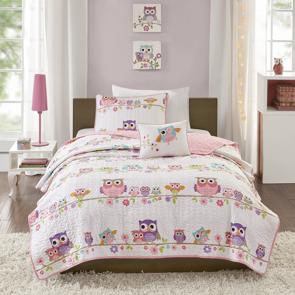 Mizone Kids Wise Wendy Printed Coverlet Set Pink Twin