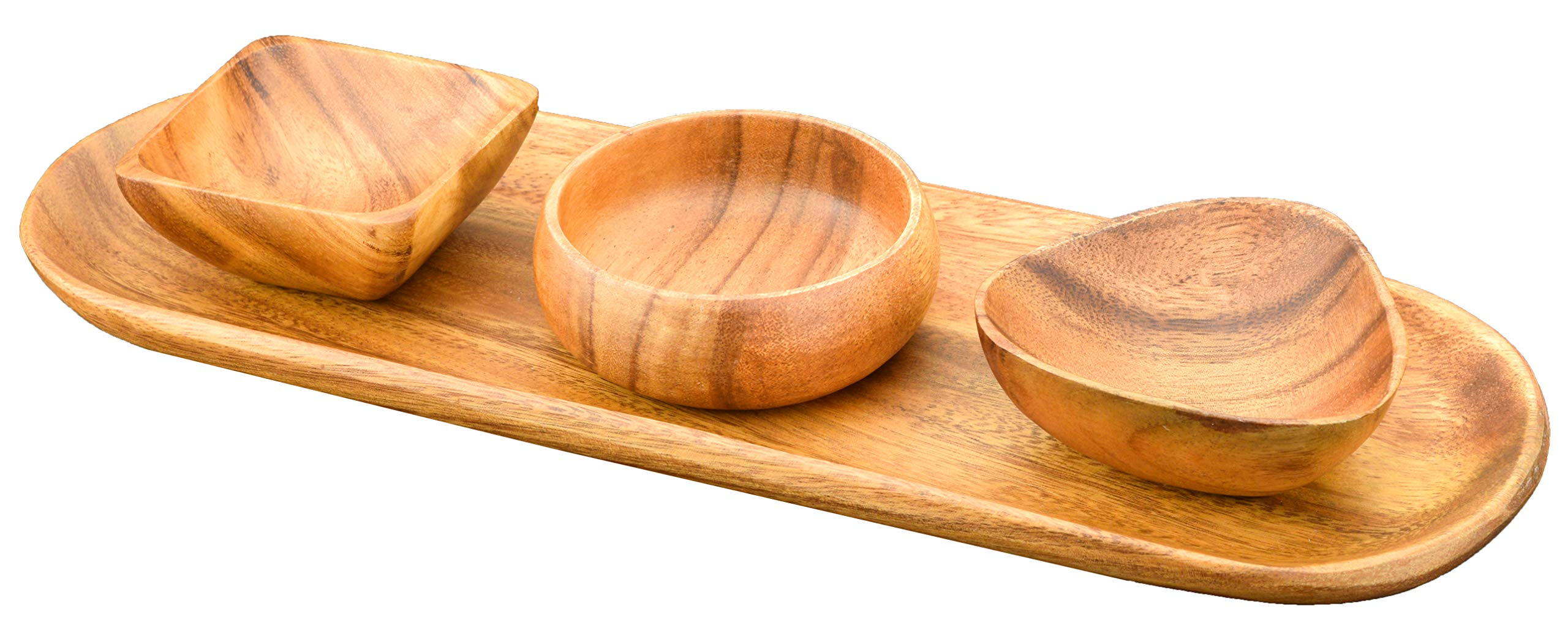 Acaciaware Acacia Wood Bread and Appetizer Tray with (3) 4-inch by 1.5-inch Dipping and Nut Bowls (3 Assorted Bowl Shapes)