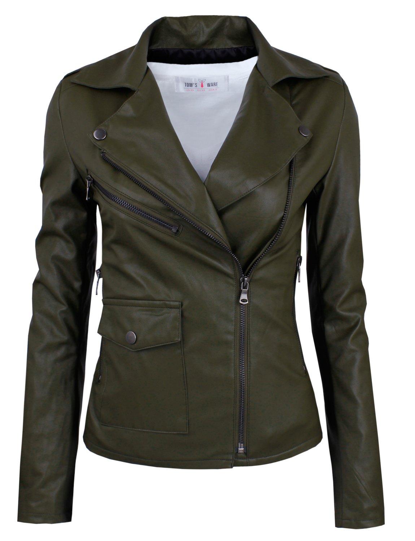 Tom's Ware Women's Fashionable Asymmetrical Zip-up Faux Leather Jacket TWPJW01-02-KHAKI-US XL