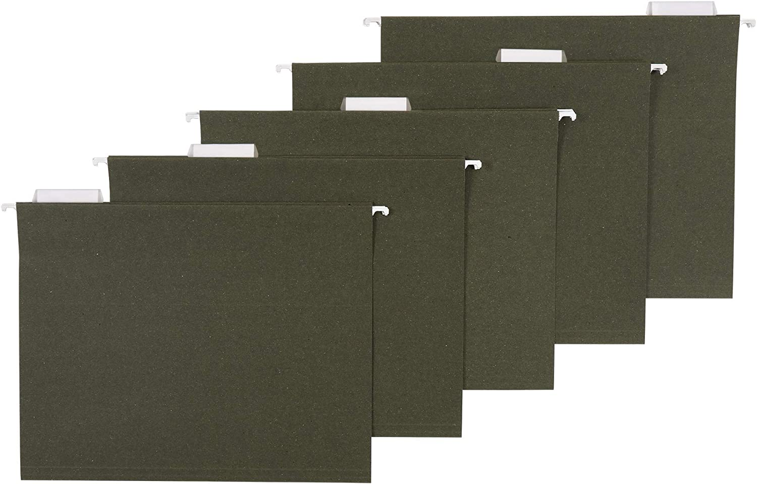 AmazonBasics Hanging File Folders, Letter Size, Standard Green,1/5-Cut Tabs, 50 per box