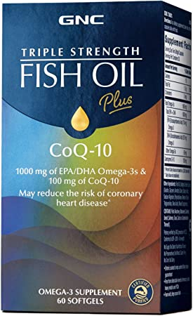 GNC Triple Strength Fish Oil Plus CoQ-10, 60 Softgels, for Join, Skin, Eye, and Heart Health