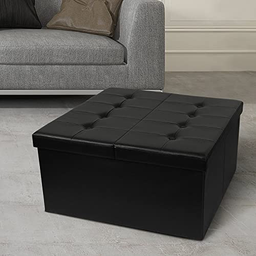 Otto Ben 30 Storage Coffee Table with Smart Lift Top Tufted Folding Faux Leather Trunk Ottomans Bench Foot Rest, Square, Black