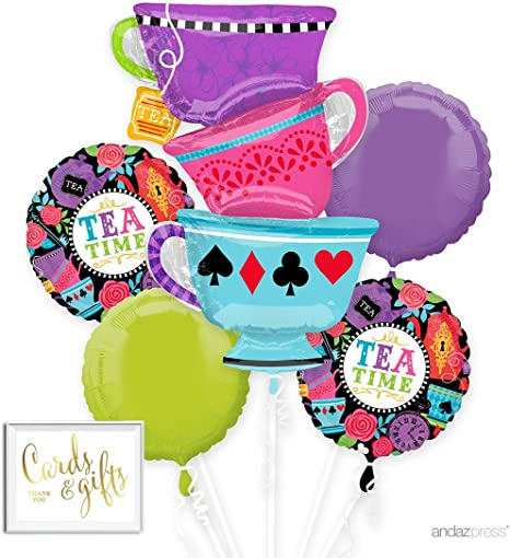 ALICE IN WONDERLAND Tea Party Tea Cup Playing Cards Birthday Balloons Supplies