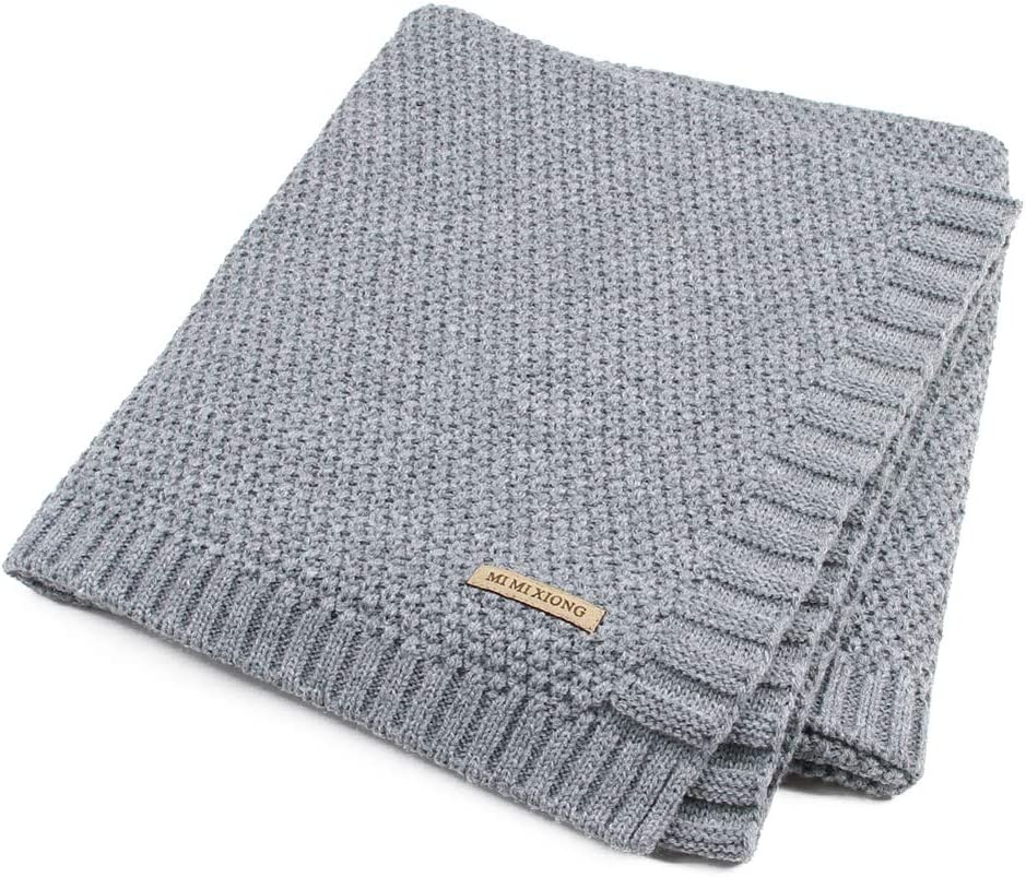 Baby Nursery and Stroller Blanket for Boys and Girls Hand Made Knitted with Heavy Thick Vegan Yarn Throw Blanket Wnvivi Knit Baby Blanket Cotton Cable Knit Toddler Blankets