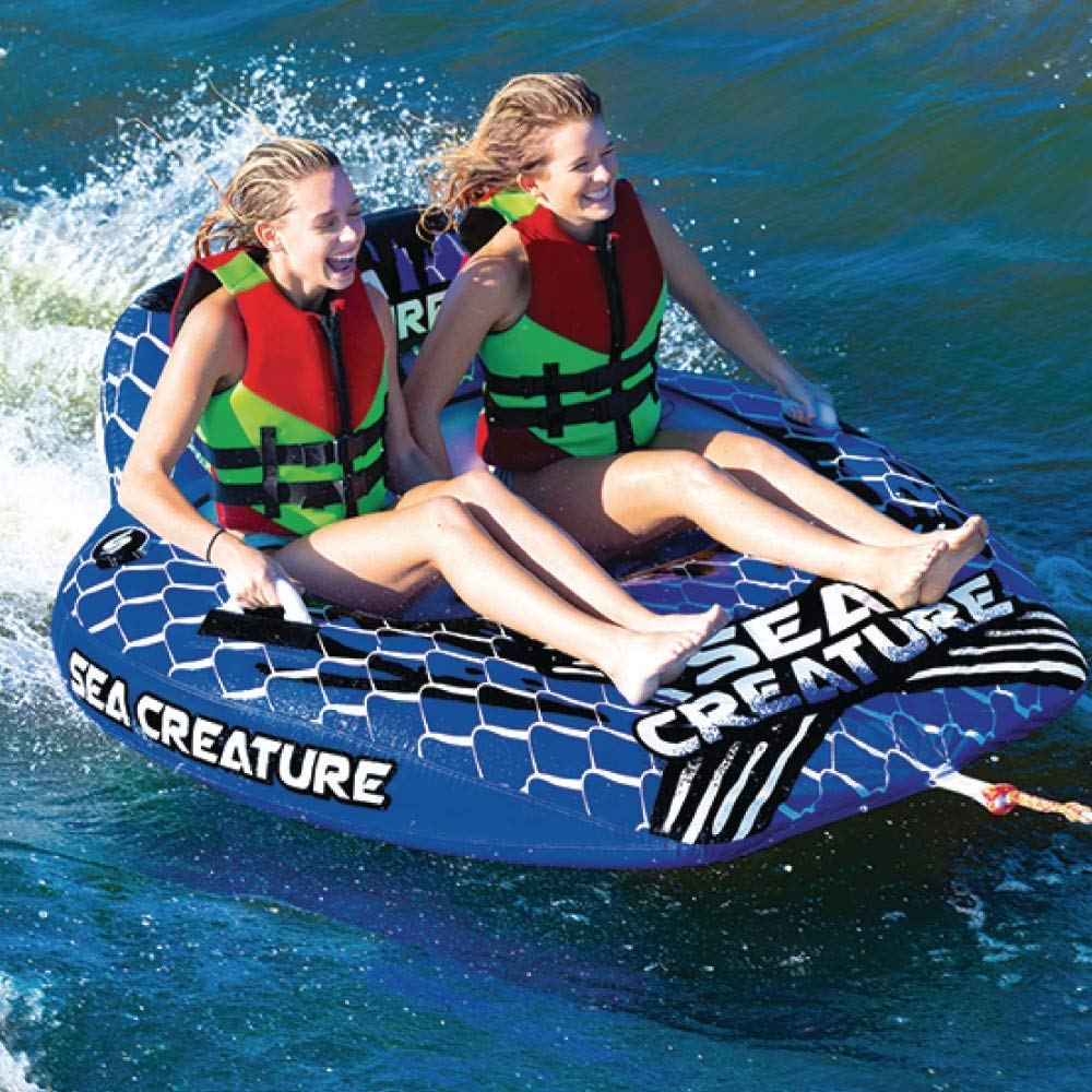 Seachoice 86903 Sea-Creature Towable Tube 2 Person 60x88 inches One Size Renewed Open Top Boat Tube with Backrests