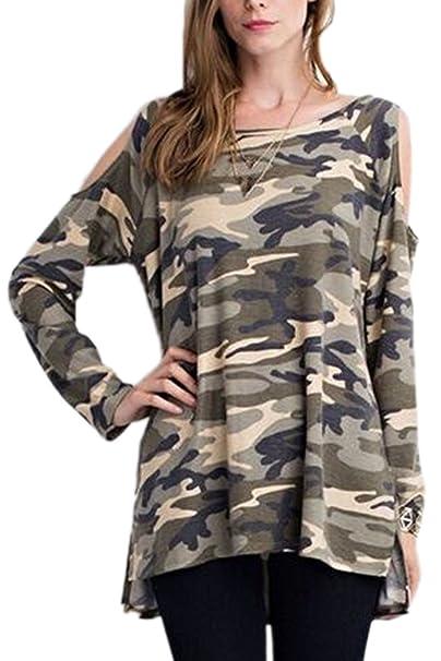 Mujeres Top Camiseta Manga Larga Blusas Holgadas De Camuflaje Hombro Frio: Amazon.es: Ropa y accesorios