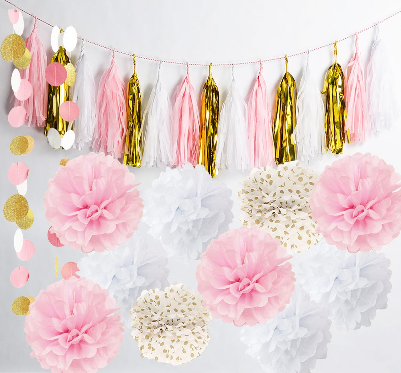 Amazon.com: Qian\'s Party Baby Pink Gold White Baby Shower ...