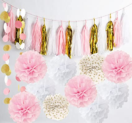 Amazon Qians Party Baby Pink Gold White Baby Shower