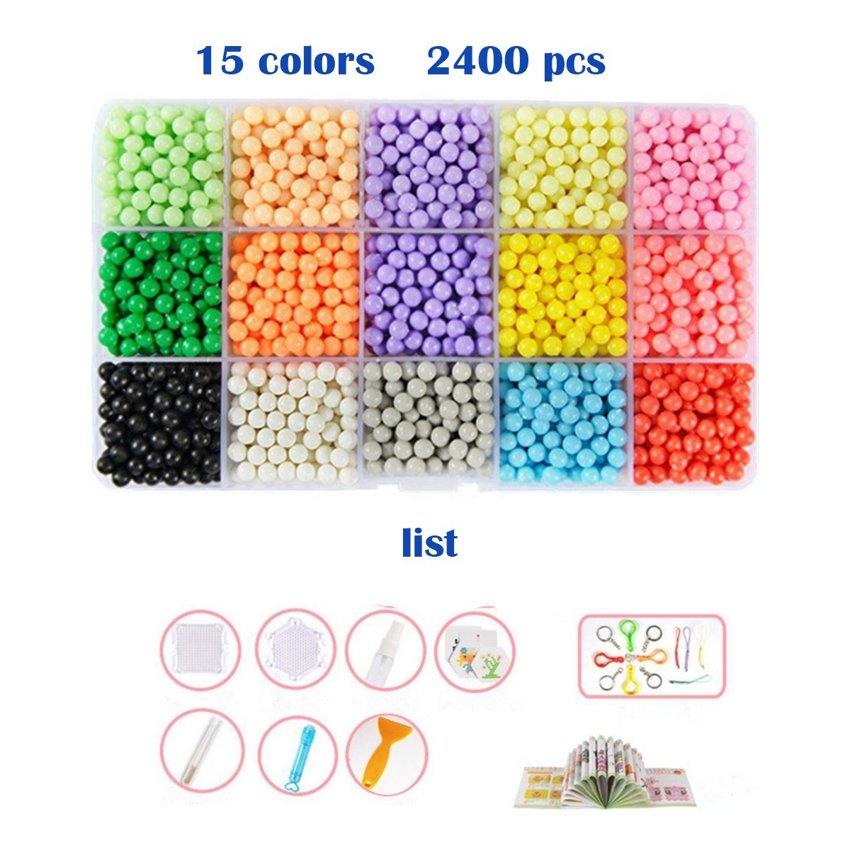 Aqua water beads Beginners Studio perler fusion Craft beads Art Crafts toys for kids non toxic with bead palette, layout table, bead pen, bead peeler, sprayer, template sheets -15 colors(2400pcs) by QIAONIUNIU (Image #4)
