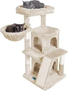 Hey-brother 41.34 inches Cat Tree with Scratching Board, 2 Luxury Condos, Cat Tower with Padded Plush Perch and Cozy Basket