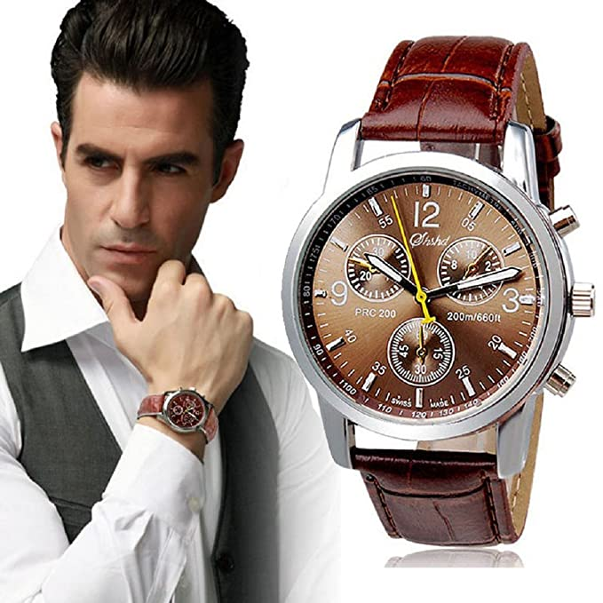fashion hombre top large analog watches men brand image luxury reloj faux leather quartz mens watch wristwatches product products new