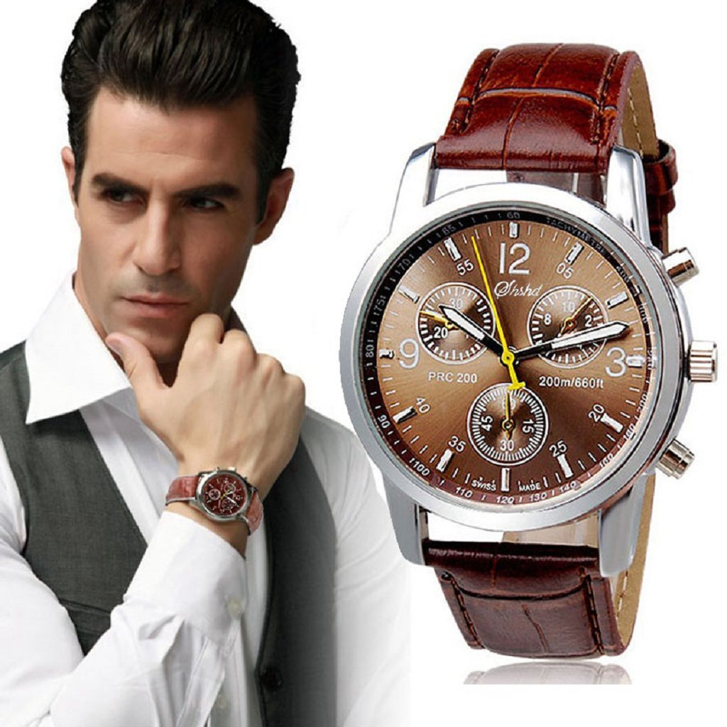 Beautyvan Luxury Fashion Faux Leather Mens Quartz Analog Watch Large Dial Business Watches (Brown~2)
