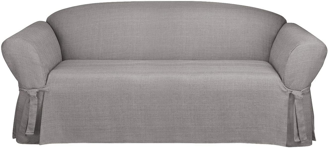 SureFit Straight Skirt with Ties - Up to 96 Inches Wide - Machine Washable - Mason Collection, Sofa, Gray Color