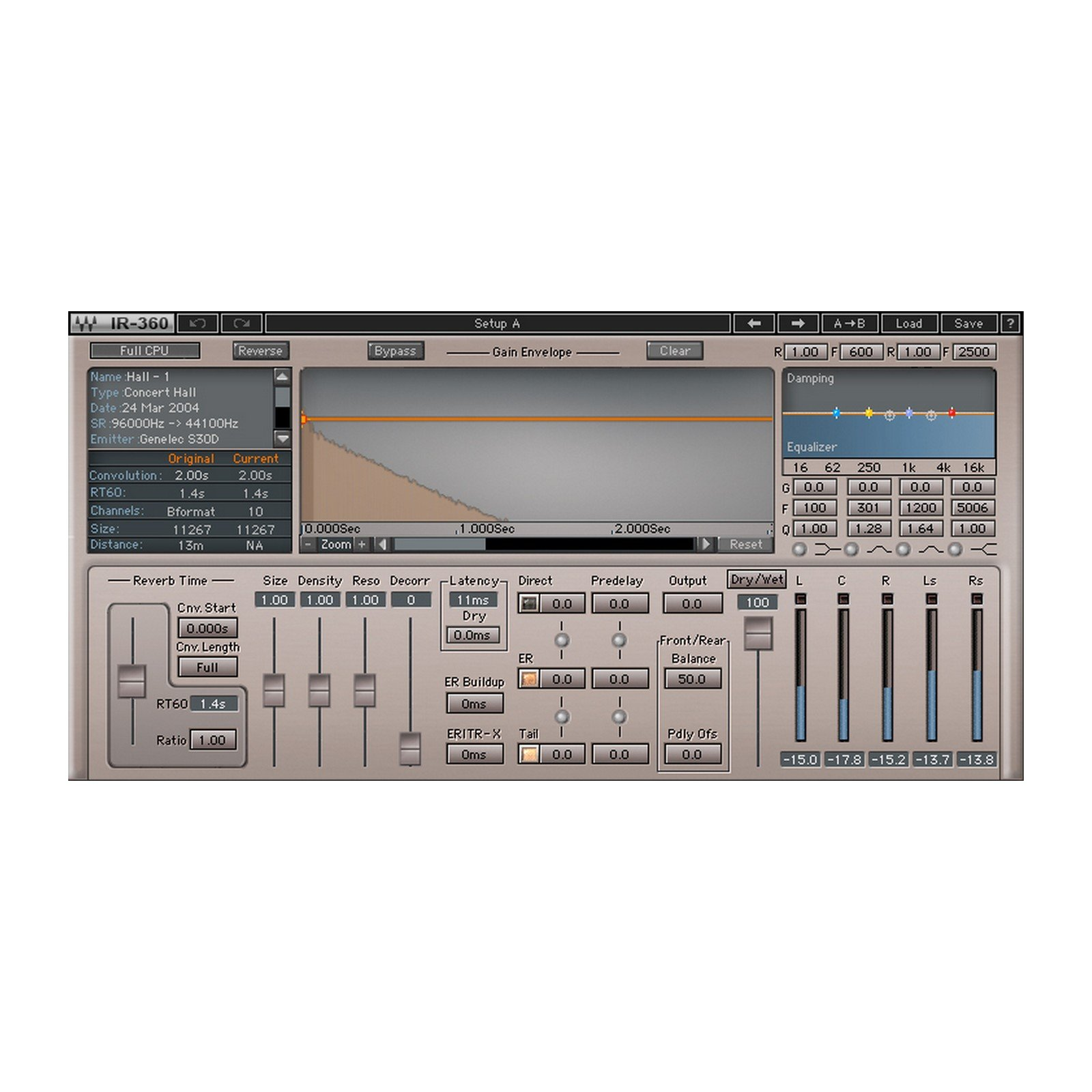 Waves IR360 Convolution Reverb | Surround Convolution Reverb Plugin Software Download Only