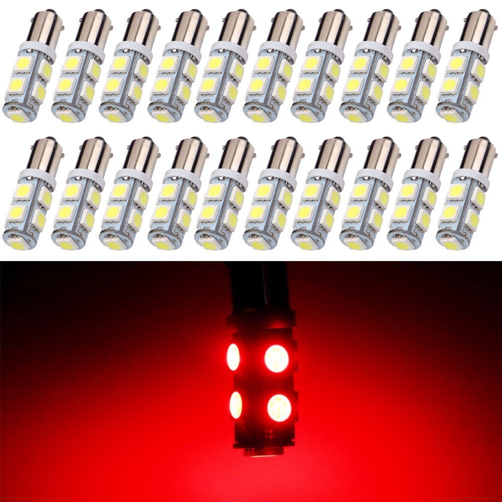 EverBright 20-Pack White 150lums BA9 BA9S 53 57 1895 64111 T4W 5050 9-SMD LED Replacement for Car License Plate Light Bulb Side Door Courtesy Door Lamp Interior Map Lights DC12V White
