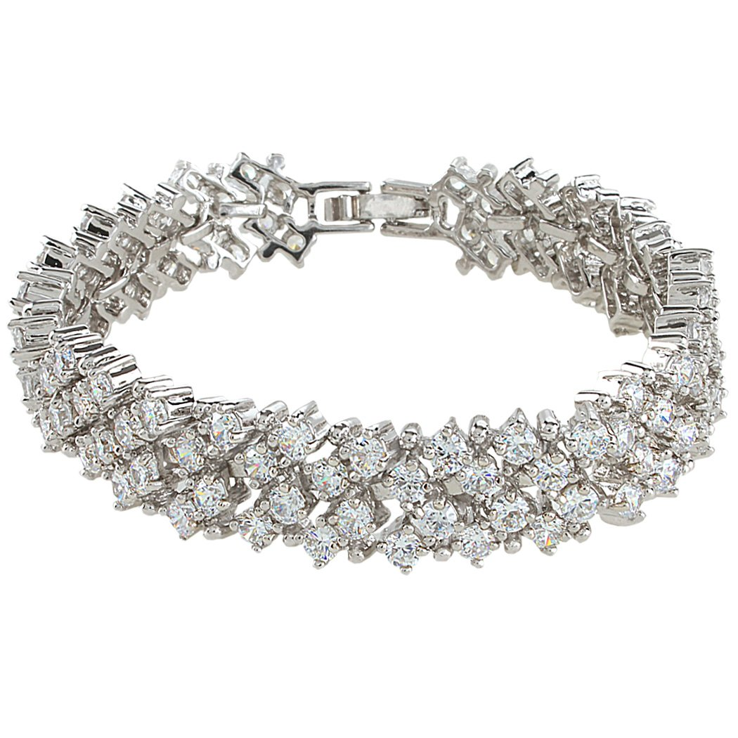 EVER FAITH Women's Round Full Cubic Zirconia Bridal Tennis Bracelet Clear Silver-Tone by EVER FAITH