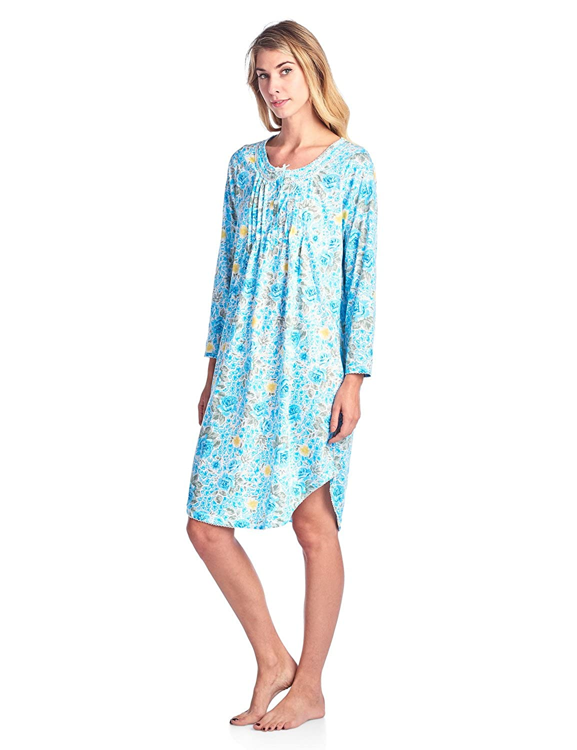 Casual Nights Women s Round Neck Long Sleeve Lace Floral Nightgown at Amazon  Women s Clothing store  edc9f9ddc