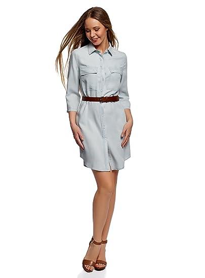 oodji Ultra Donna Abito Camicia in Jeans con Taschini  Amazon.it   Abbigliamento 9f418da78ec