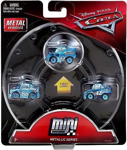 DISNEY PIXAR CARS METAL VEHICLES MINI RACERS 3 PACK  METALLIC DINOCO SERIES