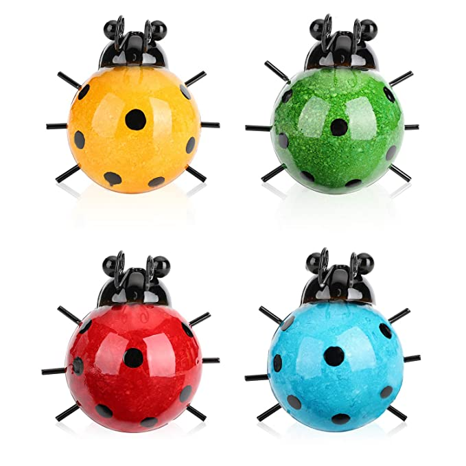 Metal Yard Decoration 4 Cute Ladybugs Garden Wall Art Decorative Set Outdoor Wall Sculptures with Hook on The Backside (4 Packs)