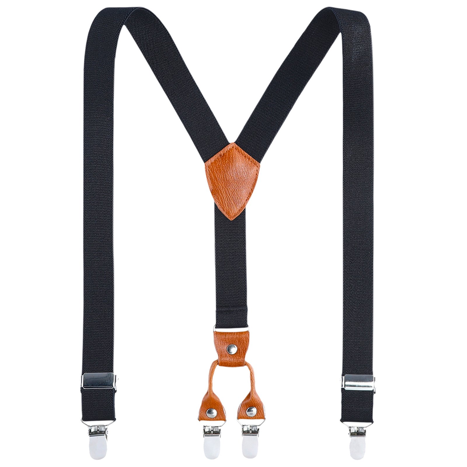 Kids Child Men Boy Suspenders - Adjustable Elastic Solid Color 4 Strong Clips Braces(31Inches (9 Years to 5 Feet Tall), Black)