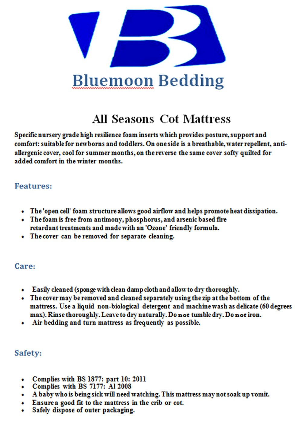 Bluemoon Bedding® Safety Mattress for SnuzPod 3 in 1 Bedside Crib