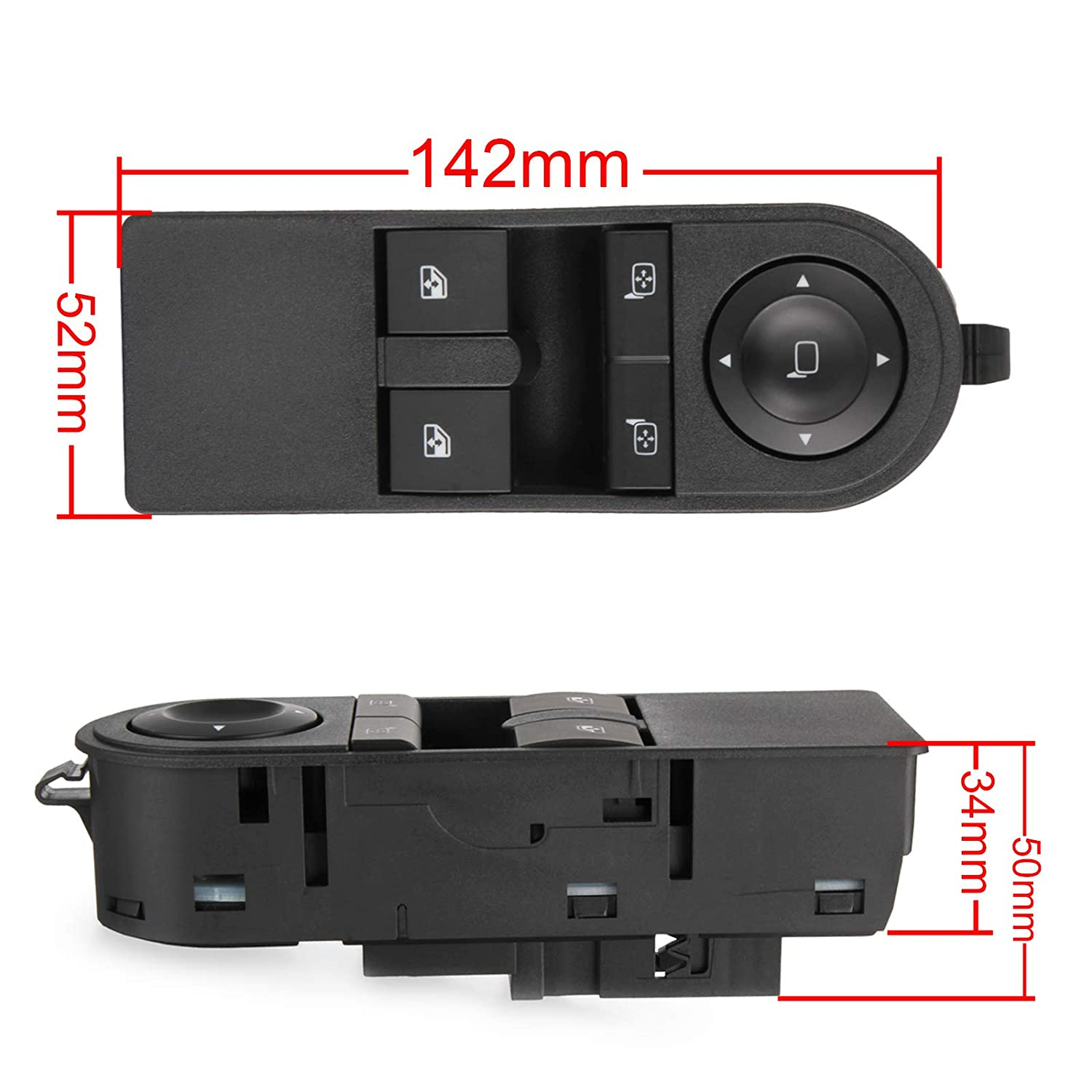 RICH CAR Window Control Switch 13228706 Driver Side for Astra MK5 Astra H Sport Hatch