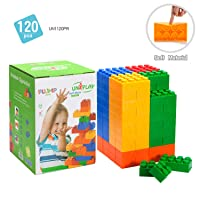 UNiPLAY Jumbo Multi-color Soft Building Blocks with 2 Different Sizes for Ages 3 Months &Up Toddler and Baby Non-Toxic & BPA-Free Developmental, Educational, Creative Toy-120 Pieces Set
