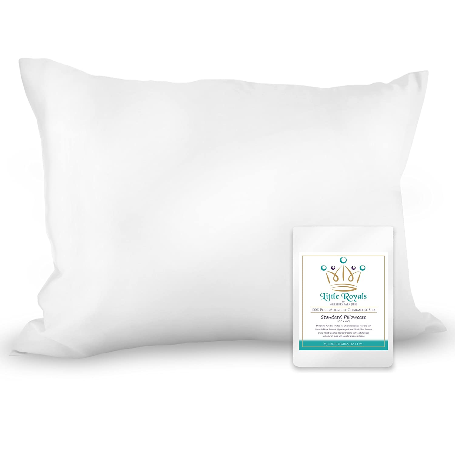 Little Royals - 100% Pure Charmeuse Silk Standard Pillowcase - Natural White - Soft, Gentle Fabric for a Child