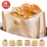 Non Stick Toaster Bags (Set of 4) Reusable and Heat Resistant Easy to Clean,Perfect for Sandwiches Pastries Pizza Slices Chicken Nuggets Fish Vegetables Panini & Garlic Toast