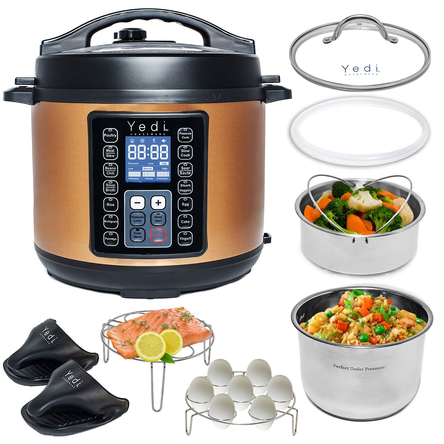 Total package 9-in-1 copper instant programmable pressure cooker